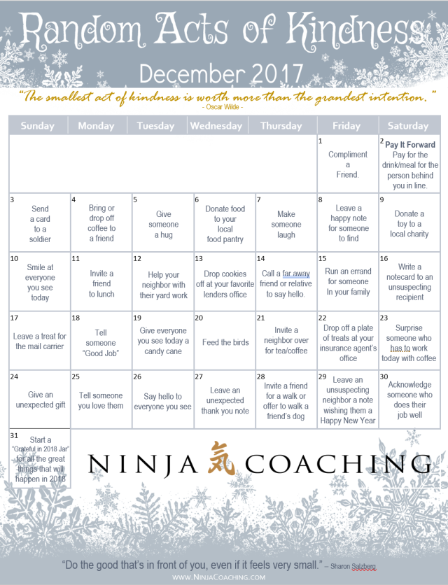 NINJA COACHING:  Random Acts of Kindness